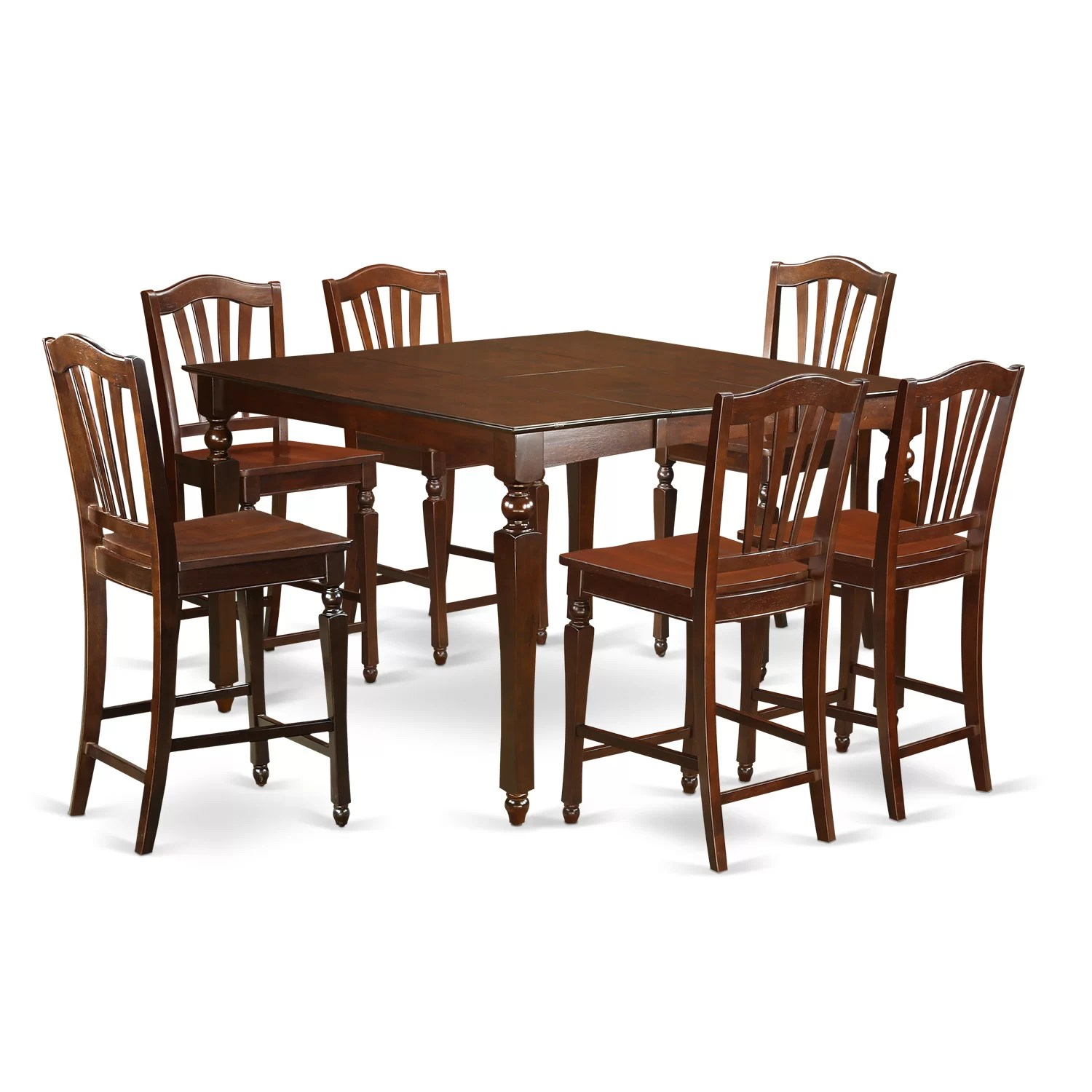 East West Chelsea 7 Piece Counter Height Dining Set amp