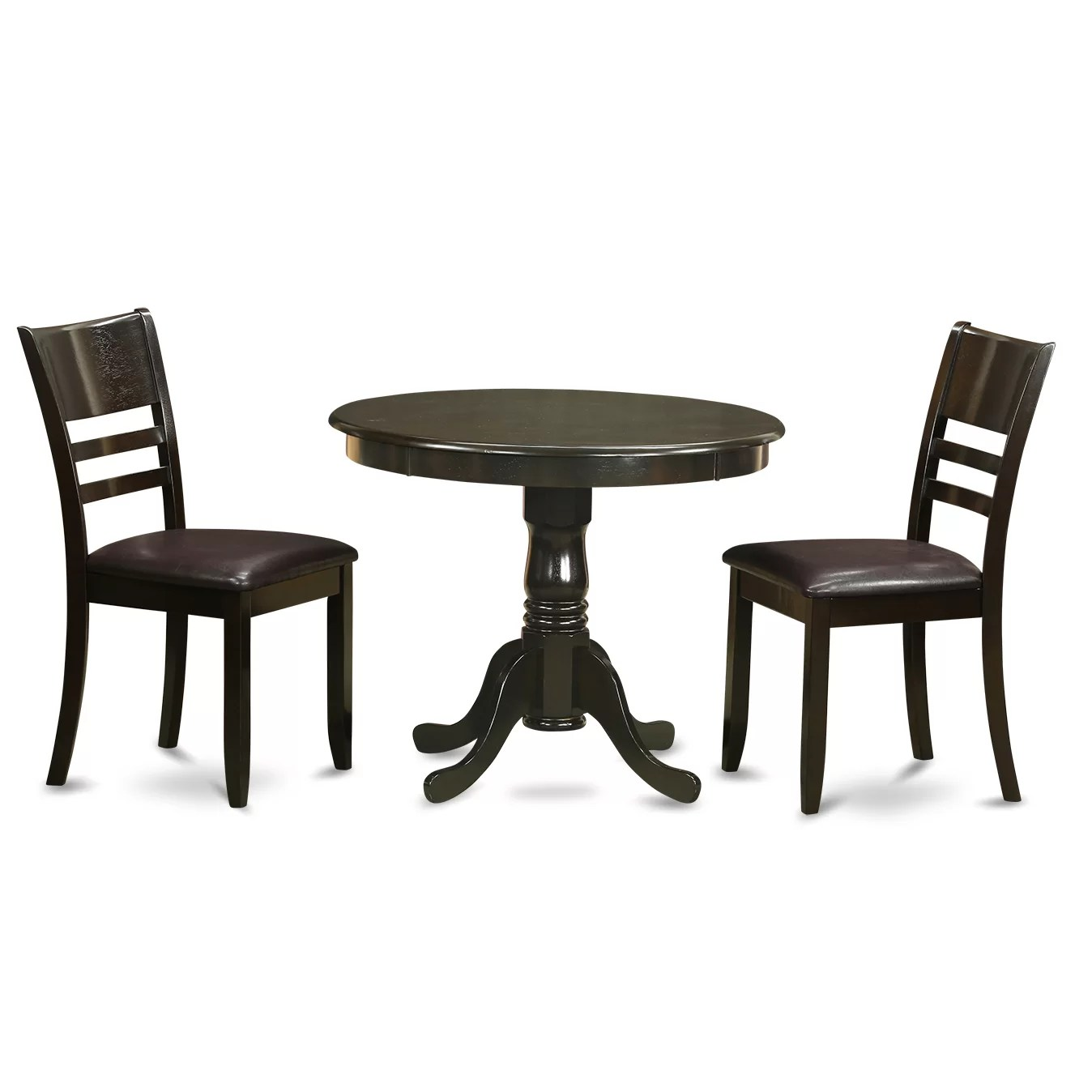 Round Kitchen Table And Chairs Set Wooden Importers 3 Piece Dining Set Wayfair