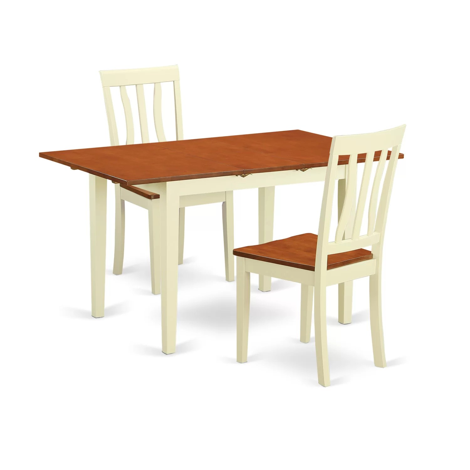 Table With Two Chairs Wooden Importers 3 Piece Dining Set And Reviews Wayfair