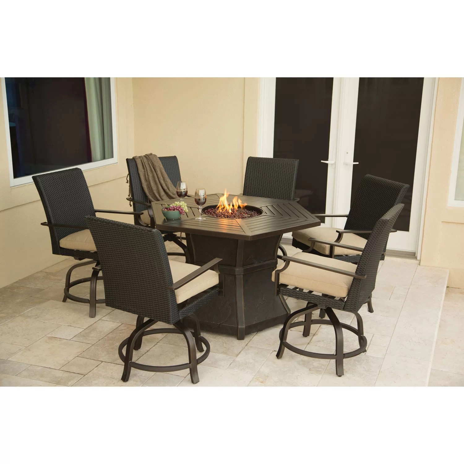 Hanover Aspen Creek 7 Piece Fire Pit Dining Set with
