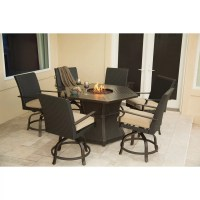 Hanover Aspen Creek 7 Piece Fire Pit Dining Set with ...