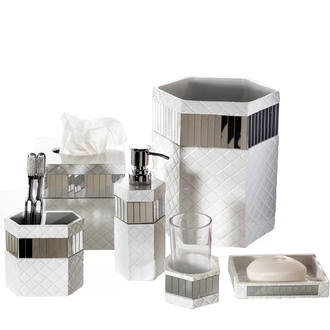 Creative Scents Quilted Mirror 6Piece Bathroom Accessory