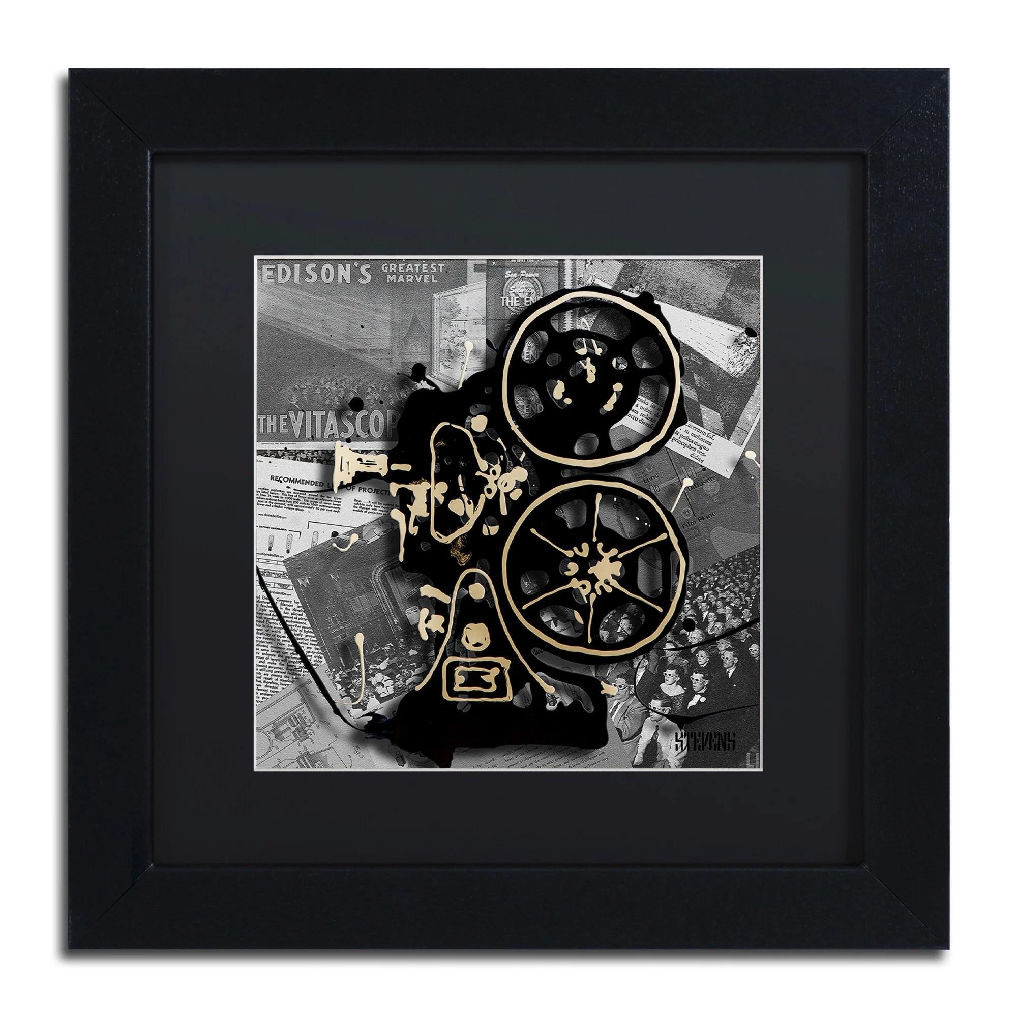 "Trademark Art ""Movie Projector"" by Roderick Stevens Framed"