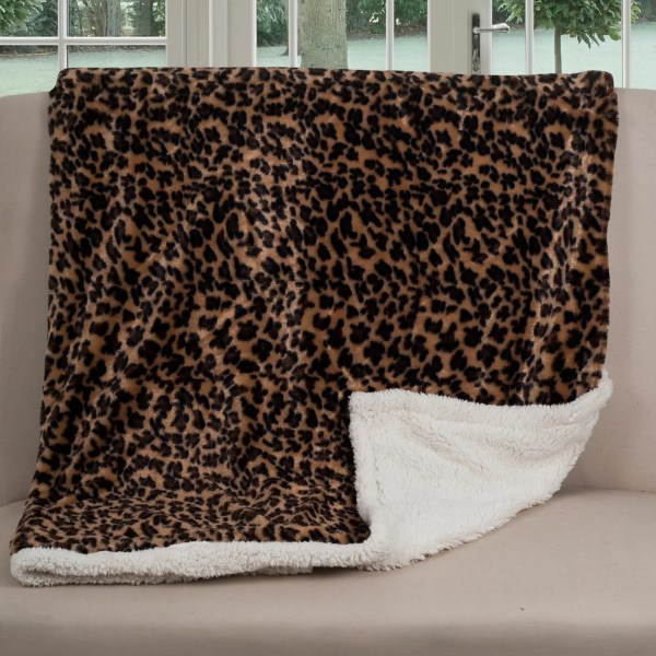 Lavish Home Leopard Throw Blanket &
