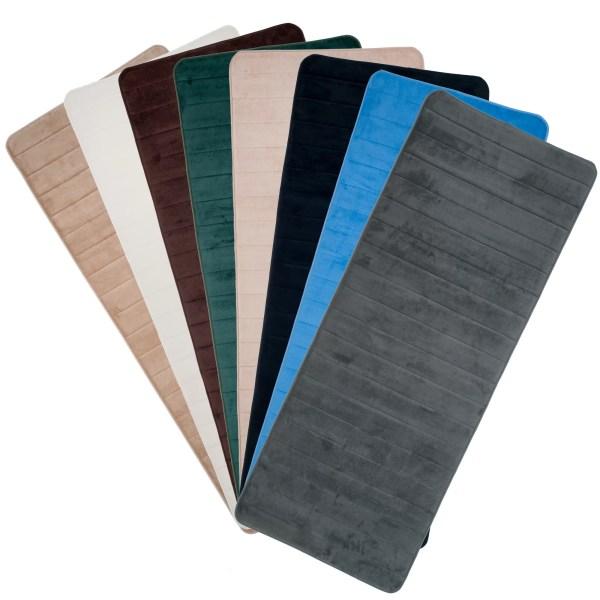 Lavish Home Extra Long Striped Memory Foam Bath Mat &