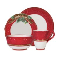 Fitz and Floyd Yuletide Holiday 4 Piece Dinnerware Set ...