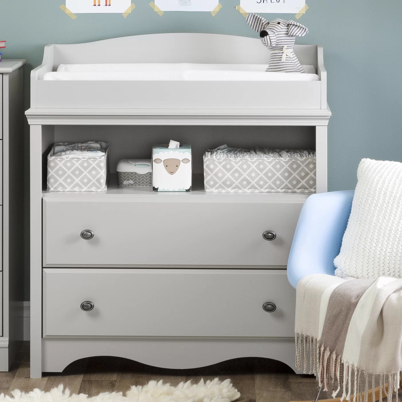 South Shore Angel Soft Gray Changing Table | Wayfair