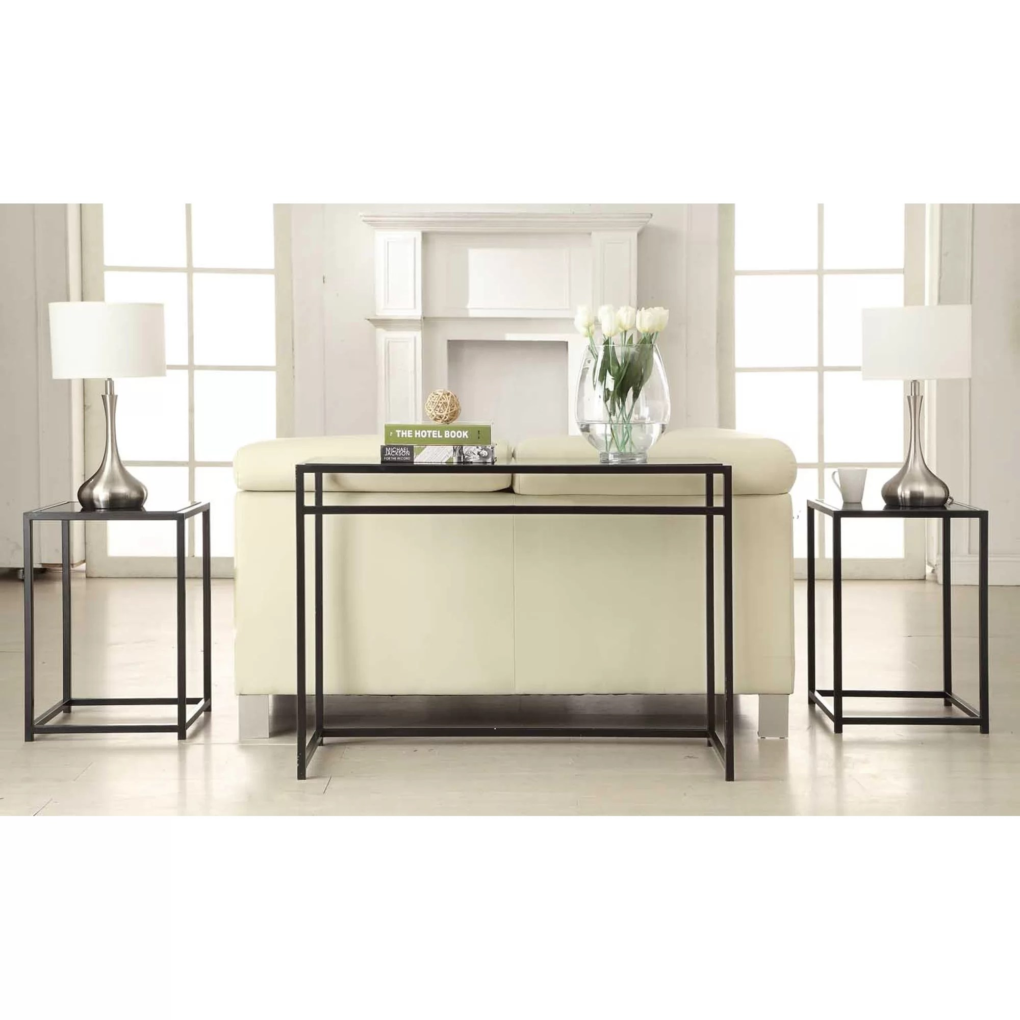 sofa table set leather tufted sofas convenience concepts designs2go classic glass 3 piece
