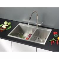 """Ruvati Tirana 33"""" x 22"""" Drop-in Double Bowl Kitchen Sink ..."""