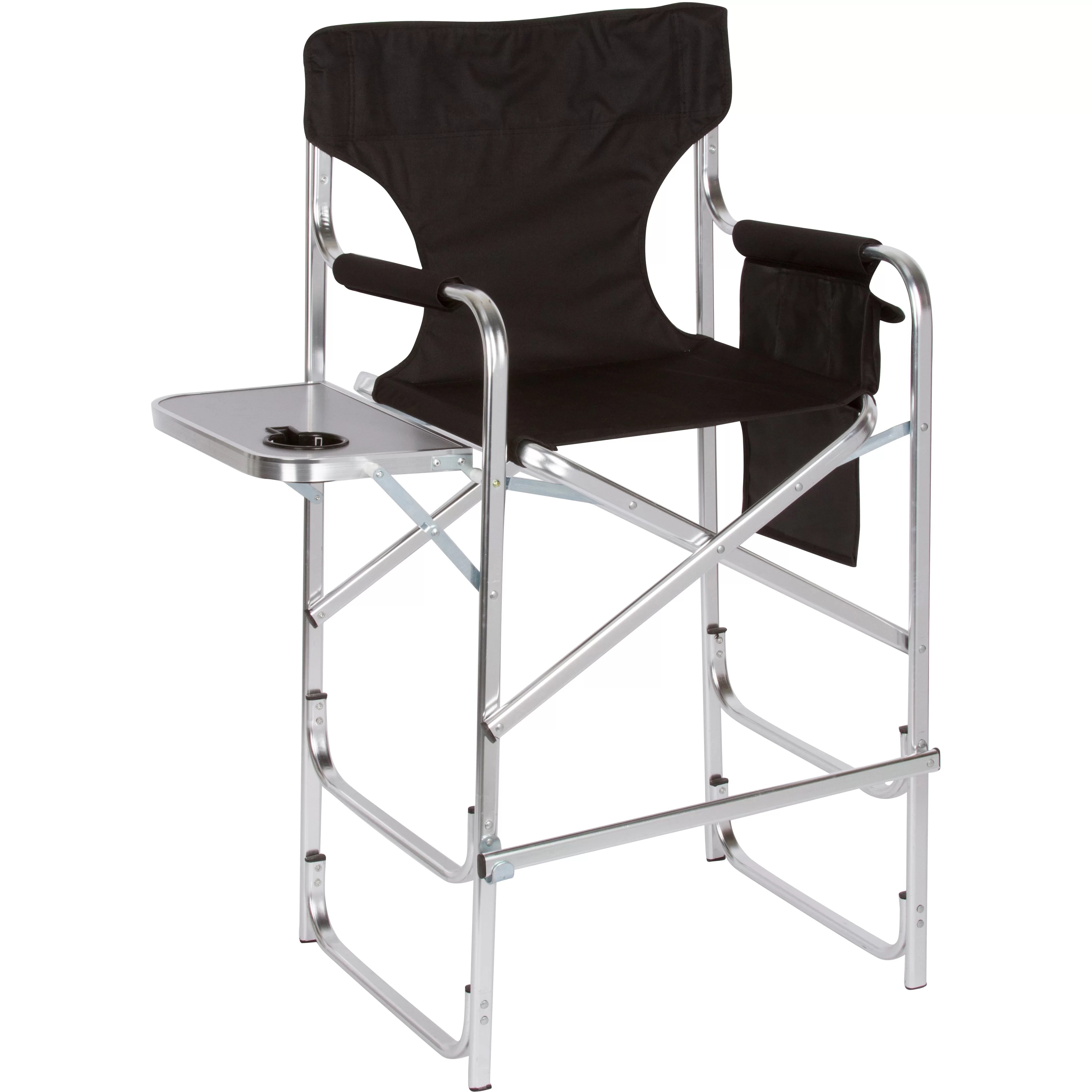 folding chair embroidered antique wooden barber trademark innovations director 39s with side table