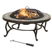 Pleasant Hearth Outdoor Natural Slate Wood Burning Fire ...