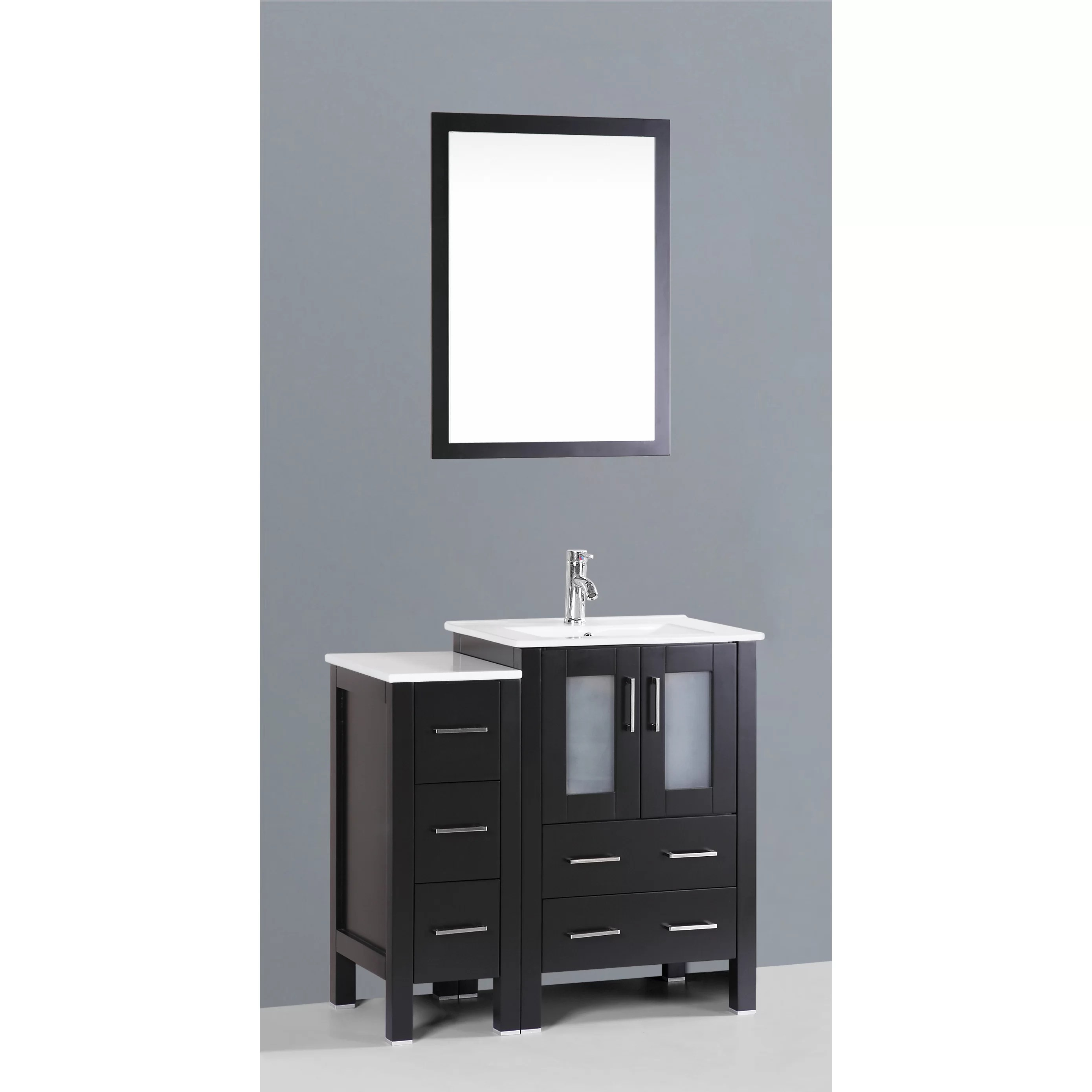 """Bosconi Contemporary 36"""" Single Bathroom Vanity Set with"""