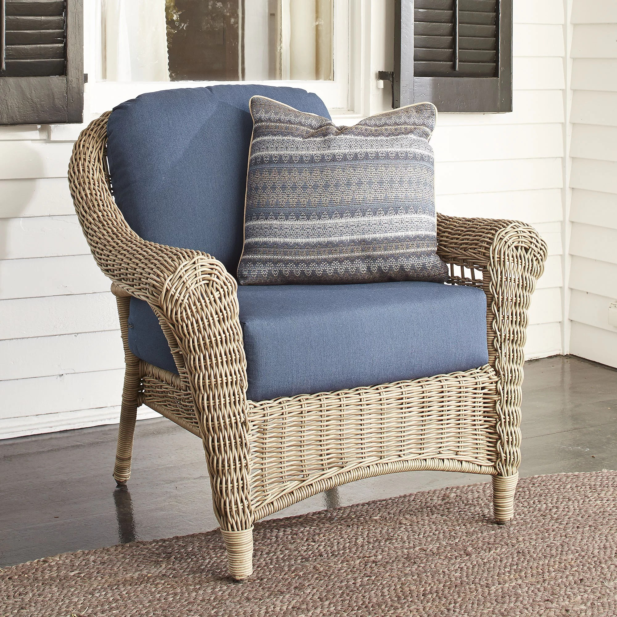 cushions for wicker chairs nicia revolving chair birch lane lynwood with sunbrella