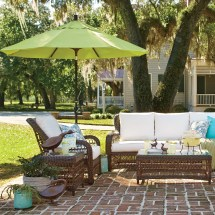 Birch Lane Rosemead Wicker Chair With Sunbrella Cushions
