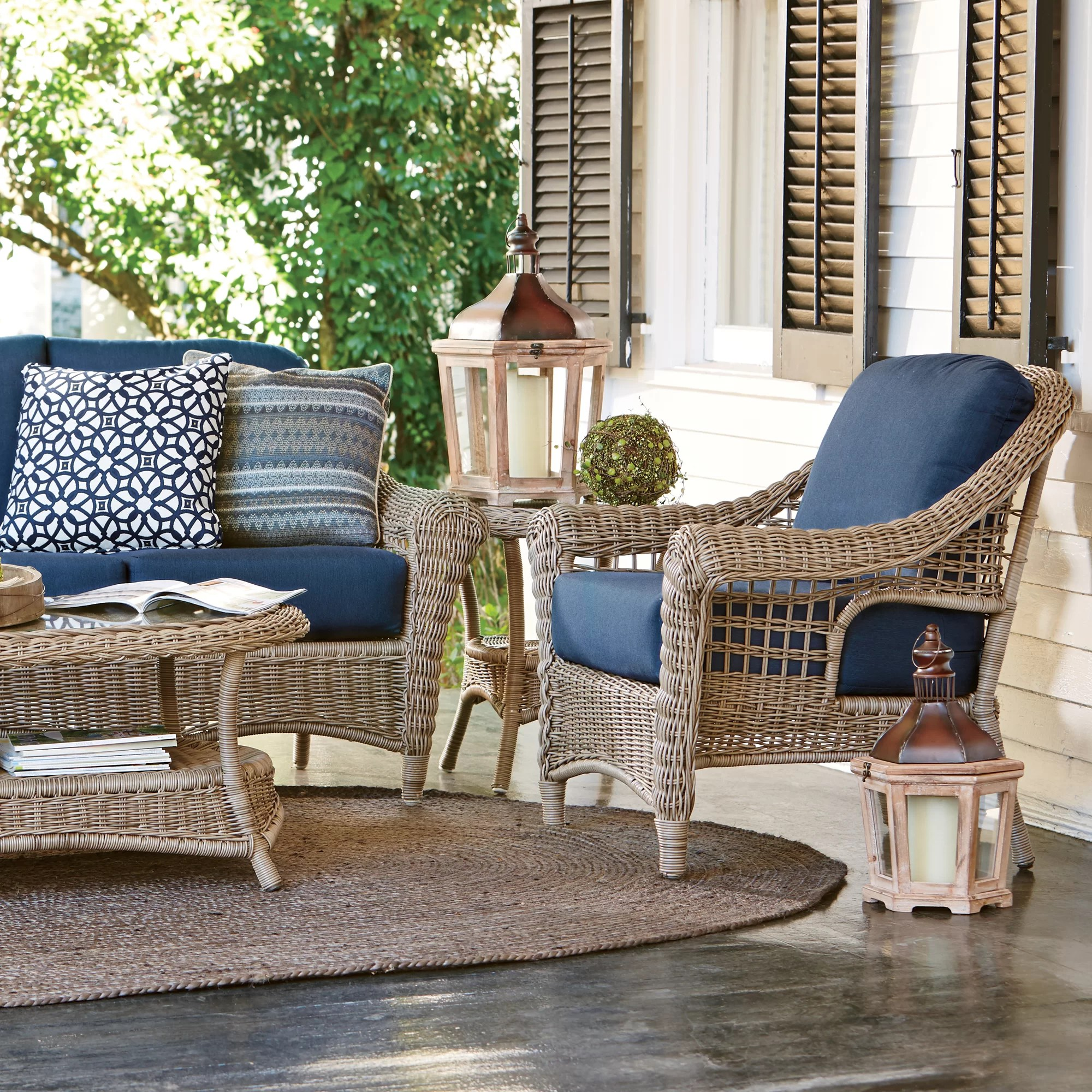 cushions for wicker chairs rustic leather chair birch lane lynwood with sunbrella