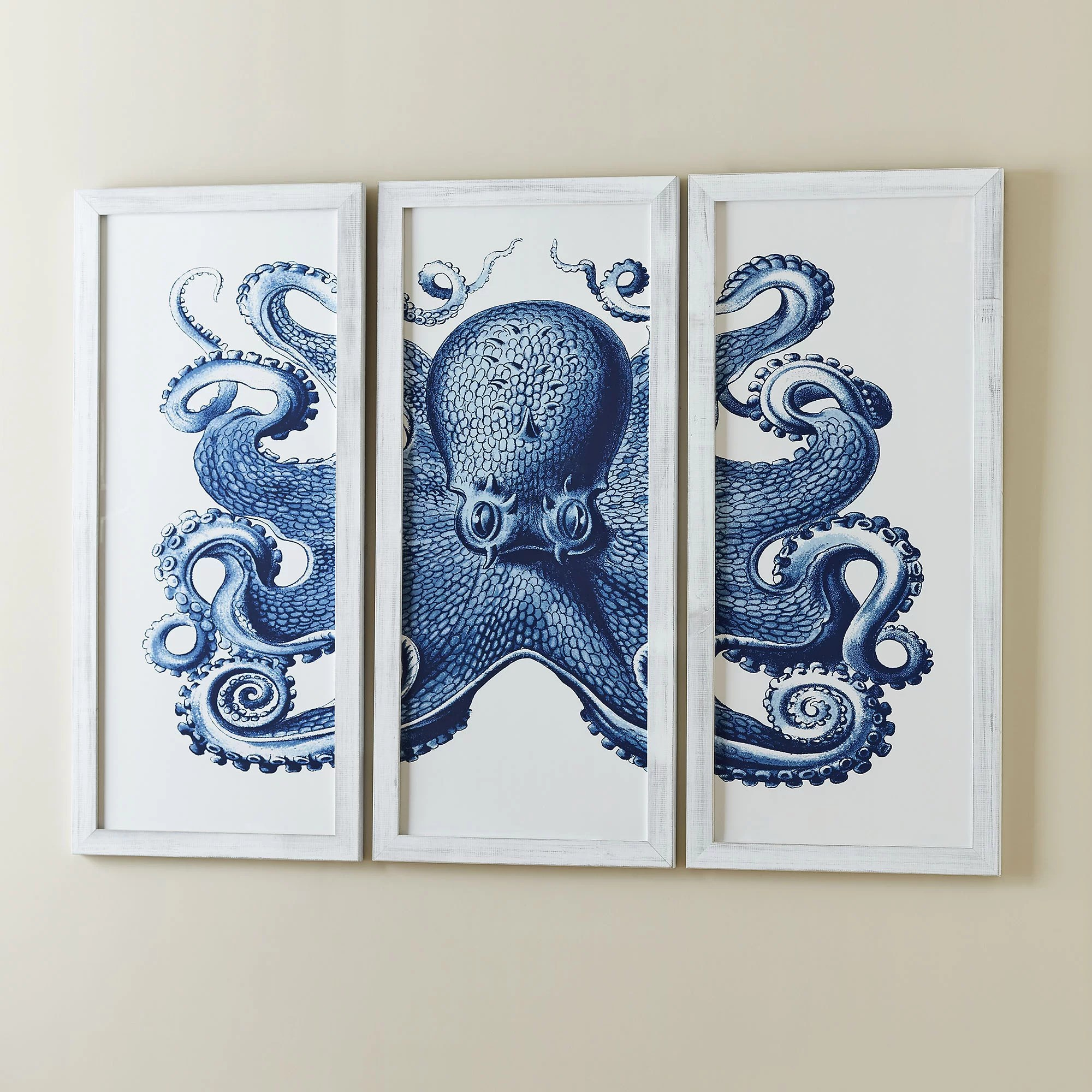 Birch Lane Blue Octopus Tryptic Wall Art & Reviews