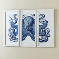 Birch Lane Blue Octopus Tryptic Wall Art & Reviews | Wayfair