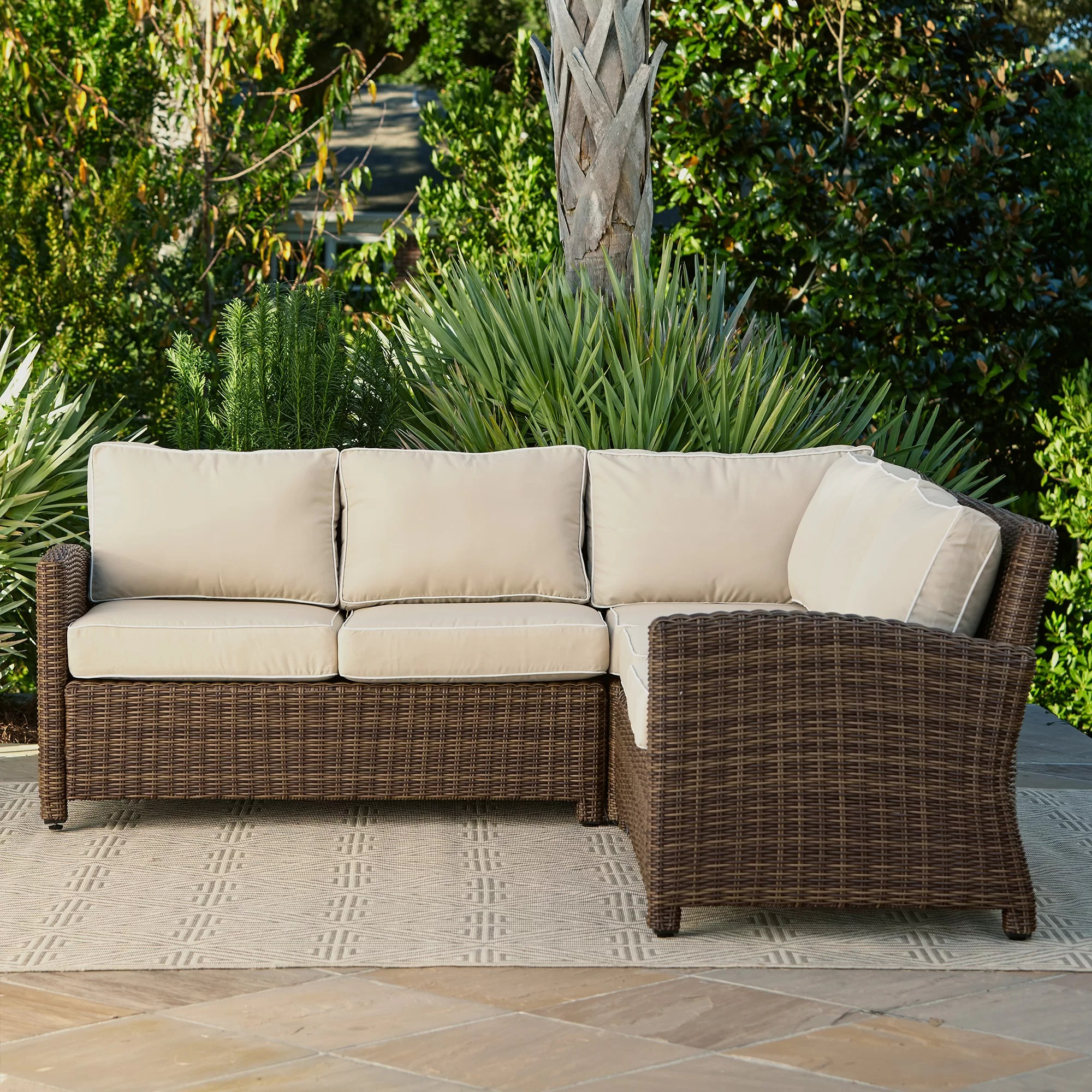 L Shaped Rattan Garden Sofa Birch Lane Lawson Wicker Sectional With Cushions And Reviews