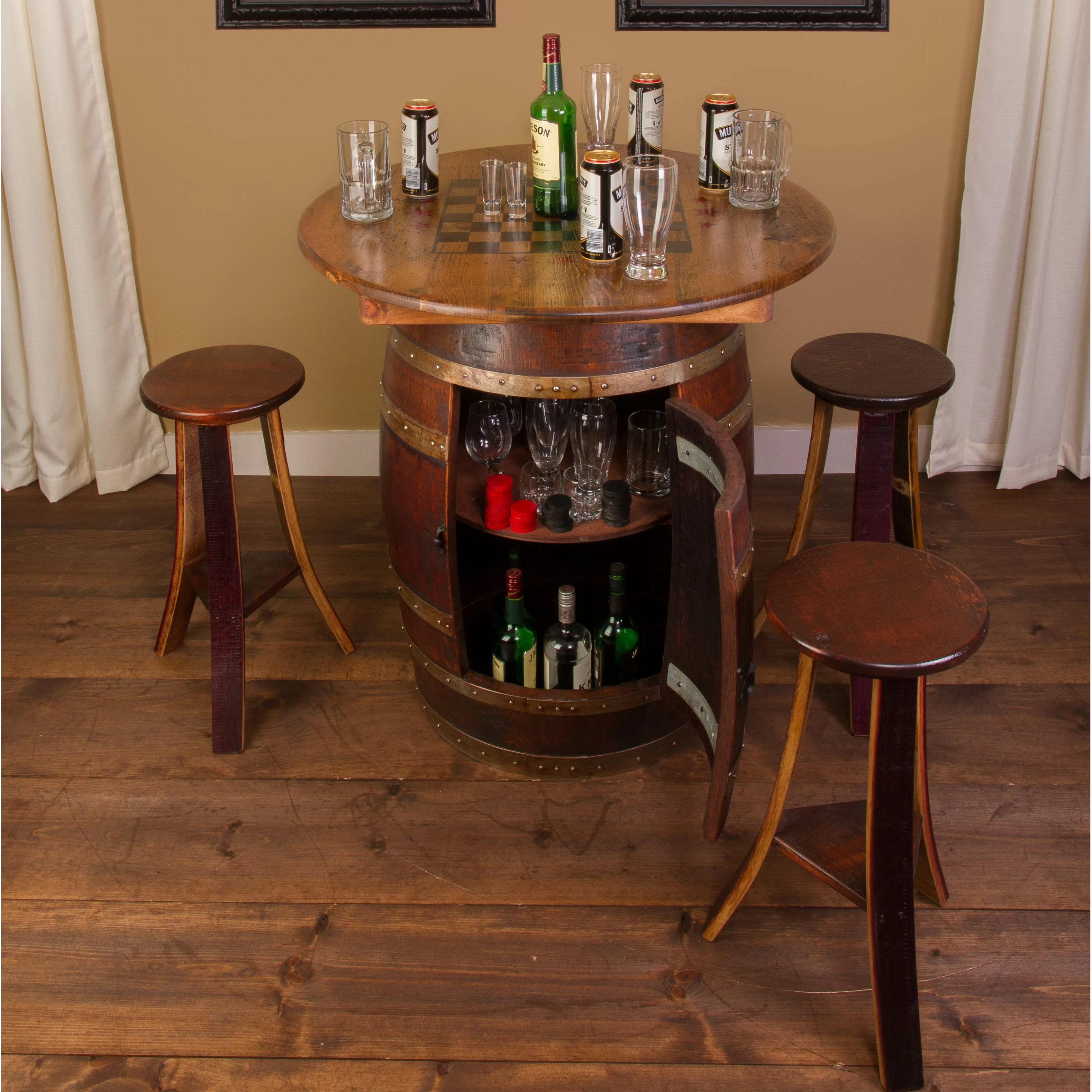 whiskey barrel pub table and chairs desk chair racing seat napa east collection 5 piece set