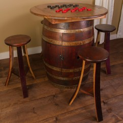 Whiskey Barrel Pub Table And Chairs Antique Leather Chair Napa East Collection 5 Piece Set