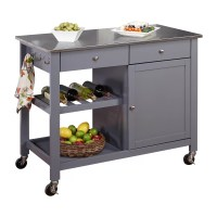 TMS Columbus Kitchen Island with Stainless Steel Top ...