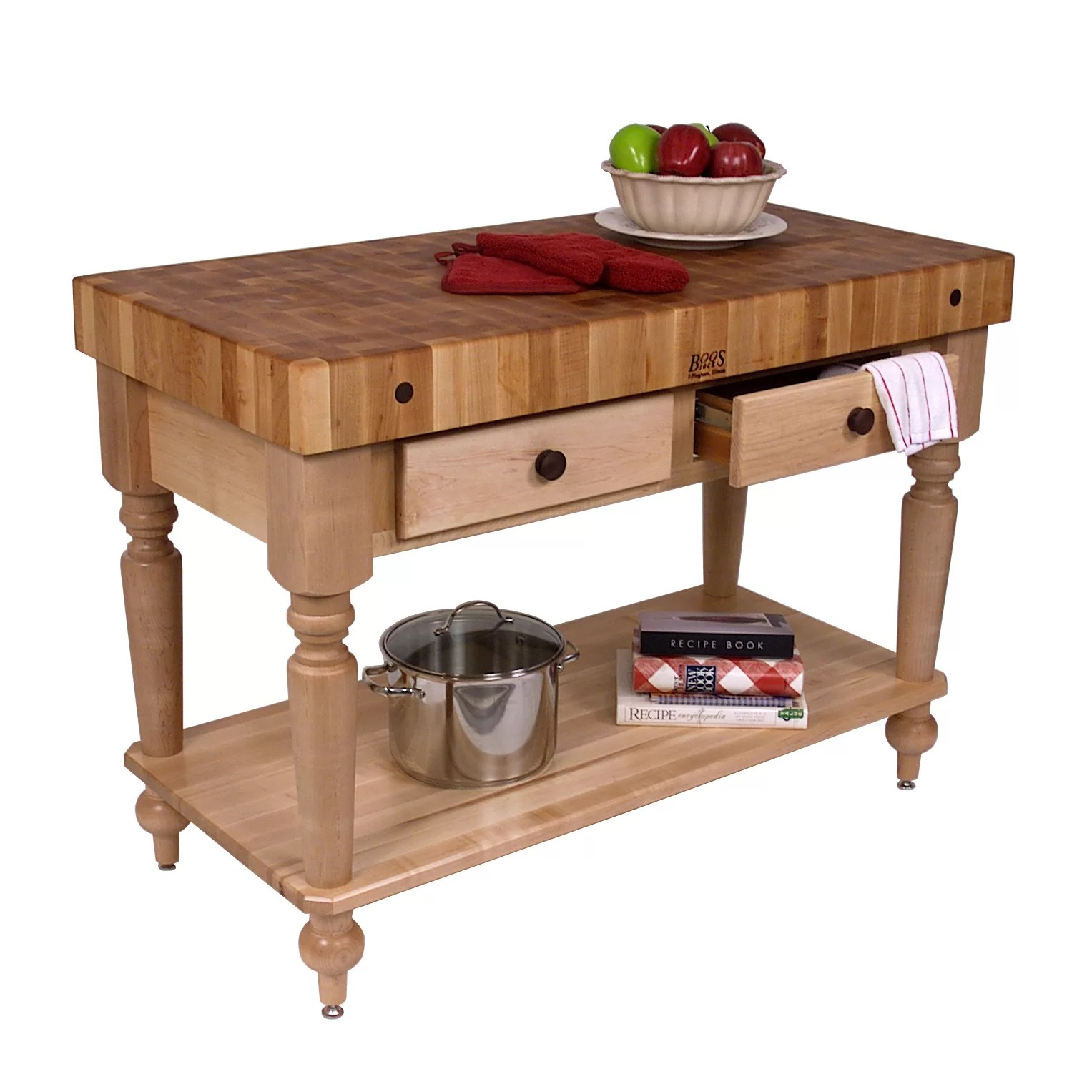 john boos kitchen islands nook curtains american heritage prep table with butcher block