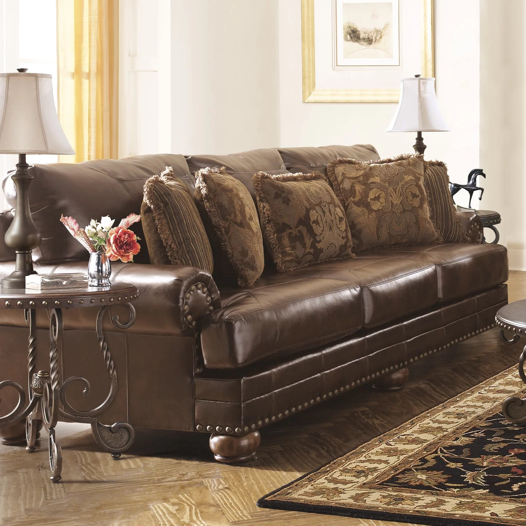 Ashley Furniture Leather Chair Signature Design By Ashley Leighton Leather Sofa And Reviews