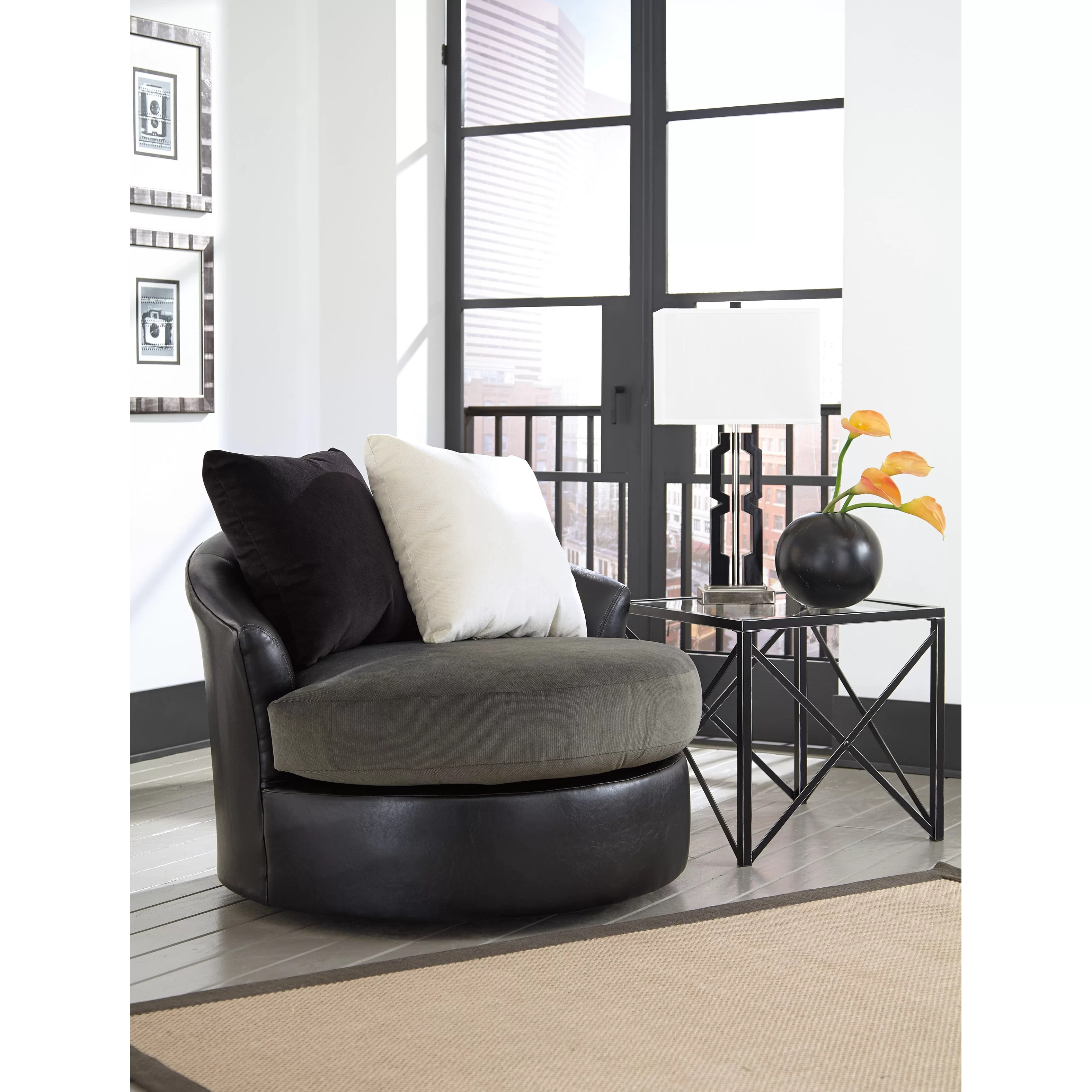 Swivel Accent Chair Signature Design By Ashley Armant Arm Chair And Reviews