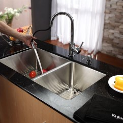 30 Undermount Kitchen Sink Used Commercial Equipment Chicago Kraus 70 Double Bowl With