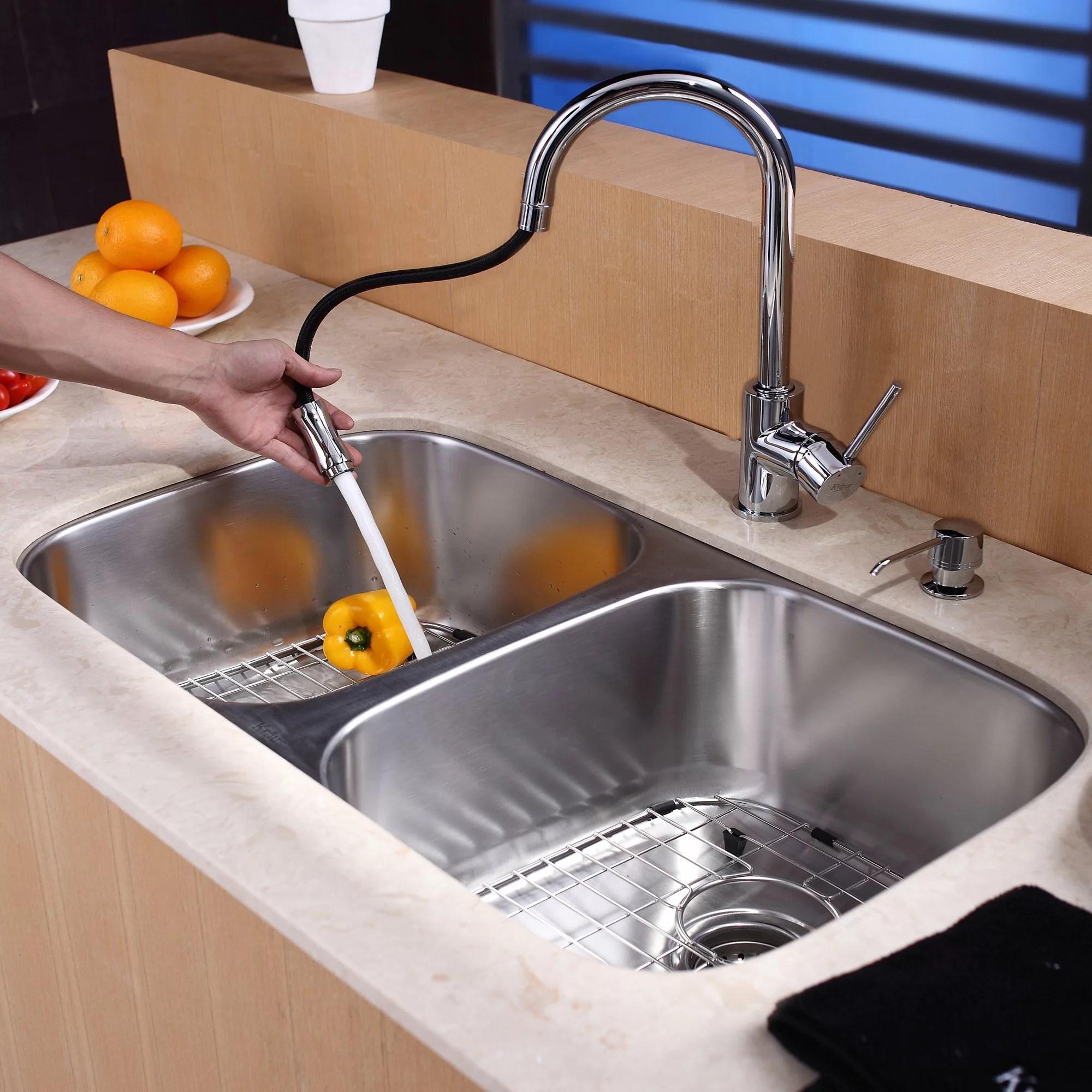 double bowl kitchen sink purple decor kraus 8 piece undermount set