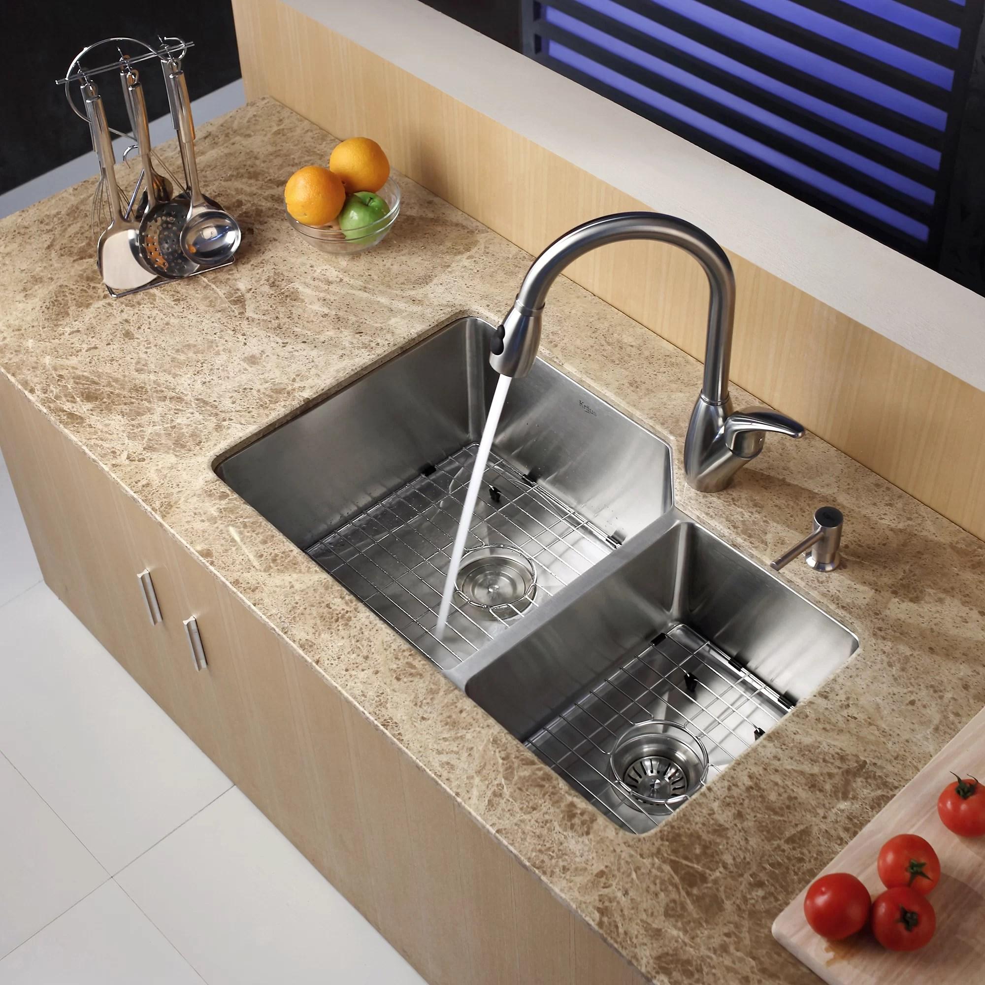 undermount double kitchen sink outdoor vent hood kraus 32 quot l x 20 w bowl 16 gauge