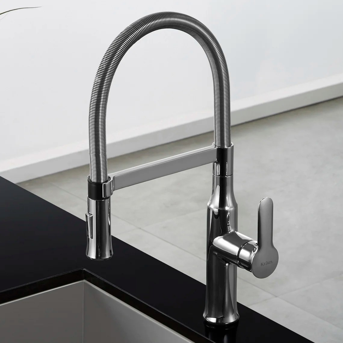 kitchen faucet commercial style table sets kraus nola single lever flex