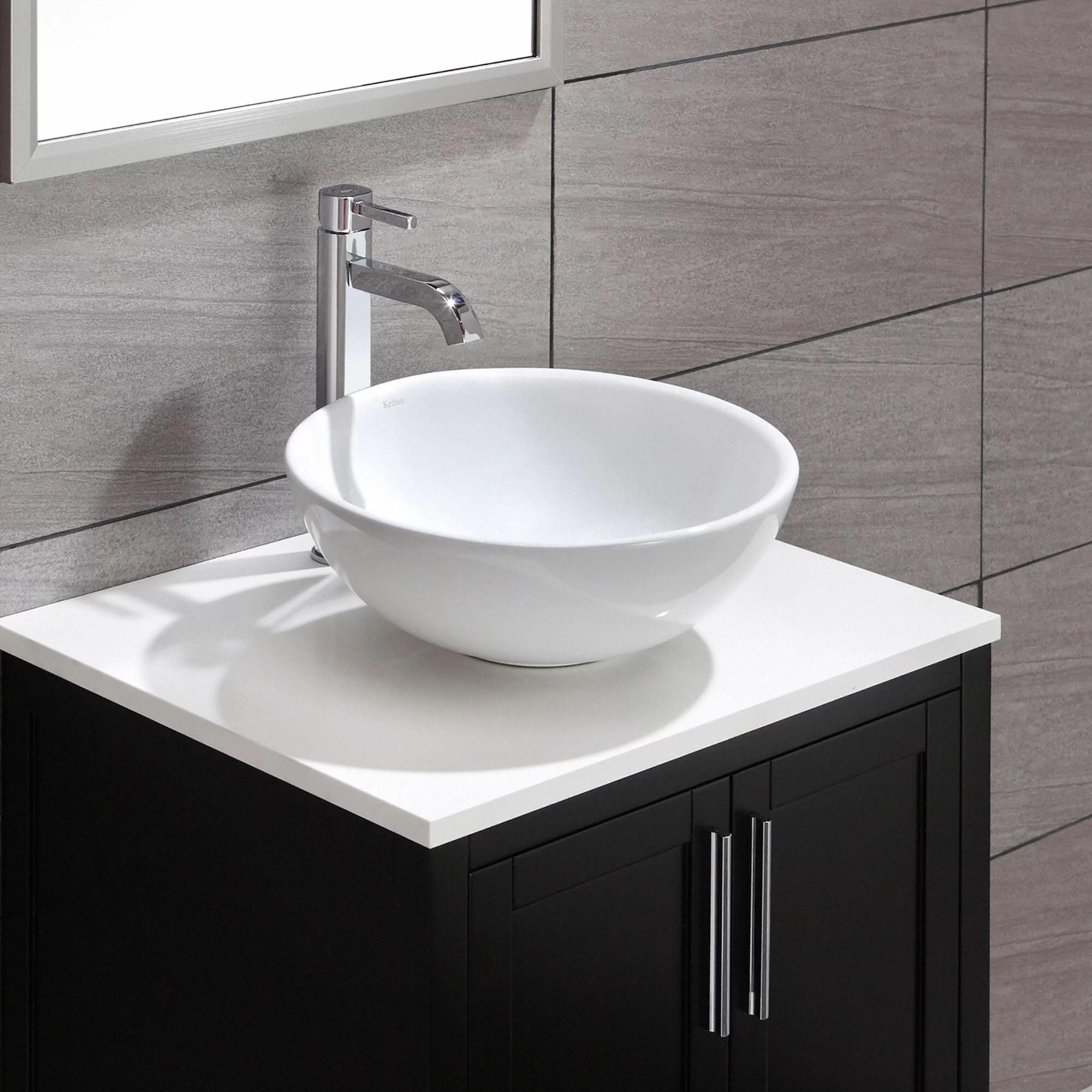 round kitchen sink valances kraus ceramic vessel bathroom and reviews wayfair