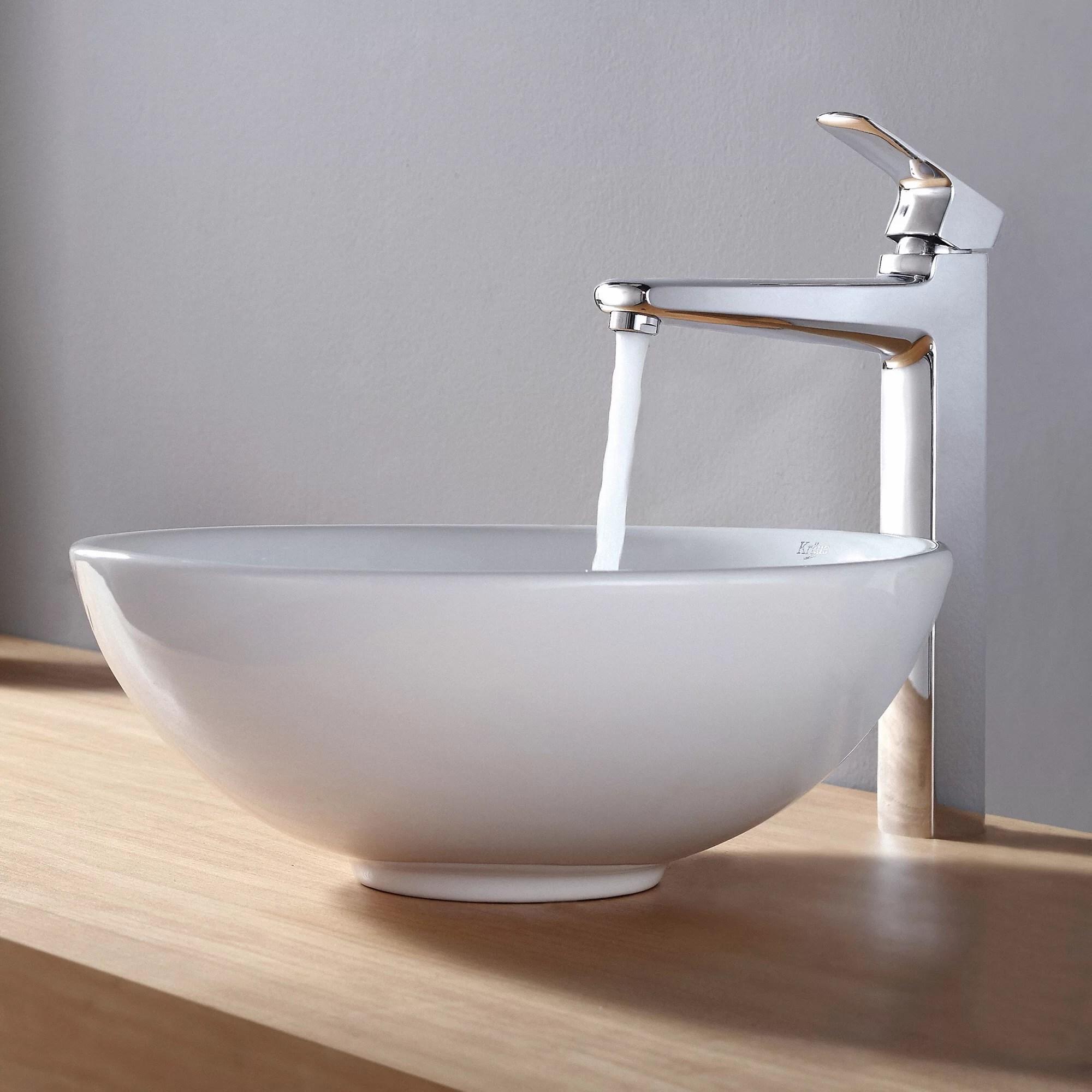 Kraus Ceramic Round Vessel Bathroom Sink  Reviews  Wayfair