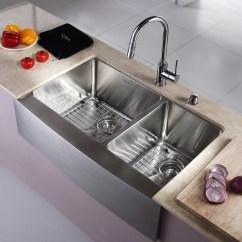 Double Bowl Kitchen Sink Counter Tile Kraus Farmhouse 33 Quot 60 40