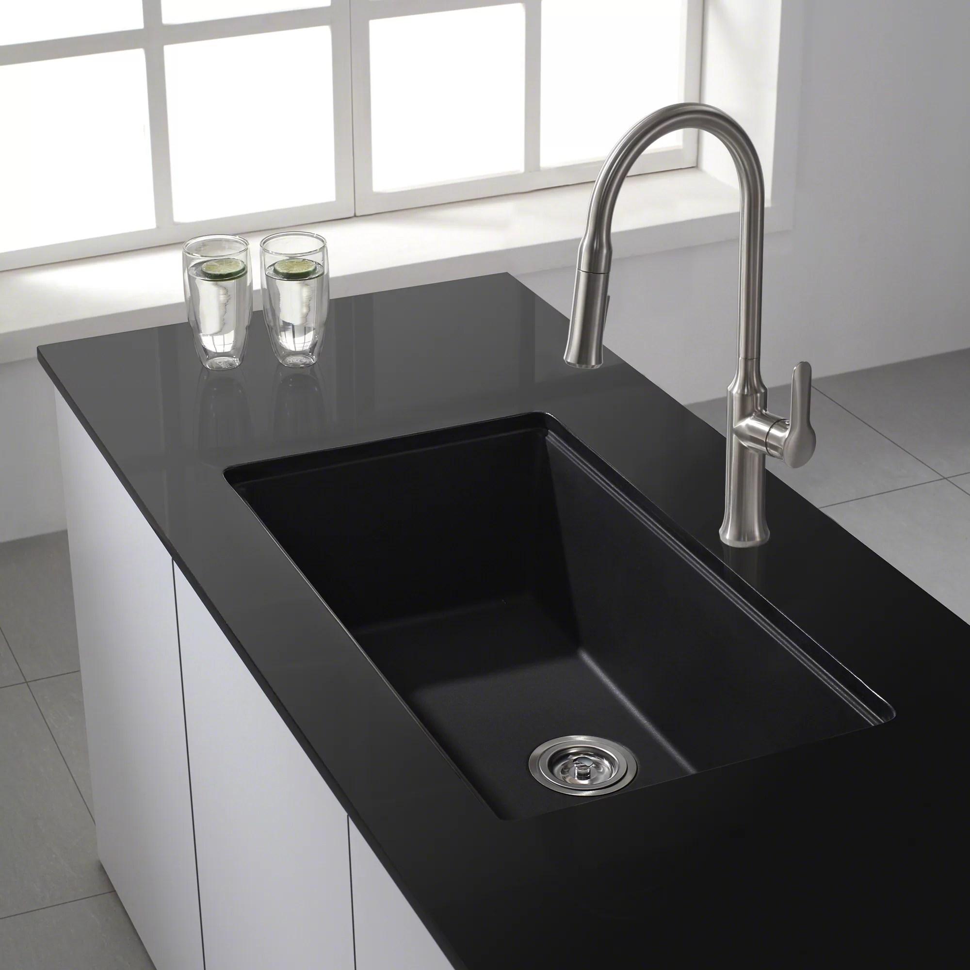 Kraus 31 x 1709 Undermount Single Bowl Granite Kitchen