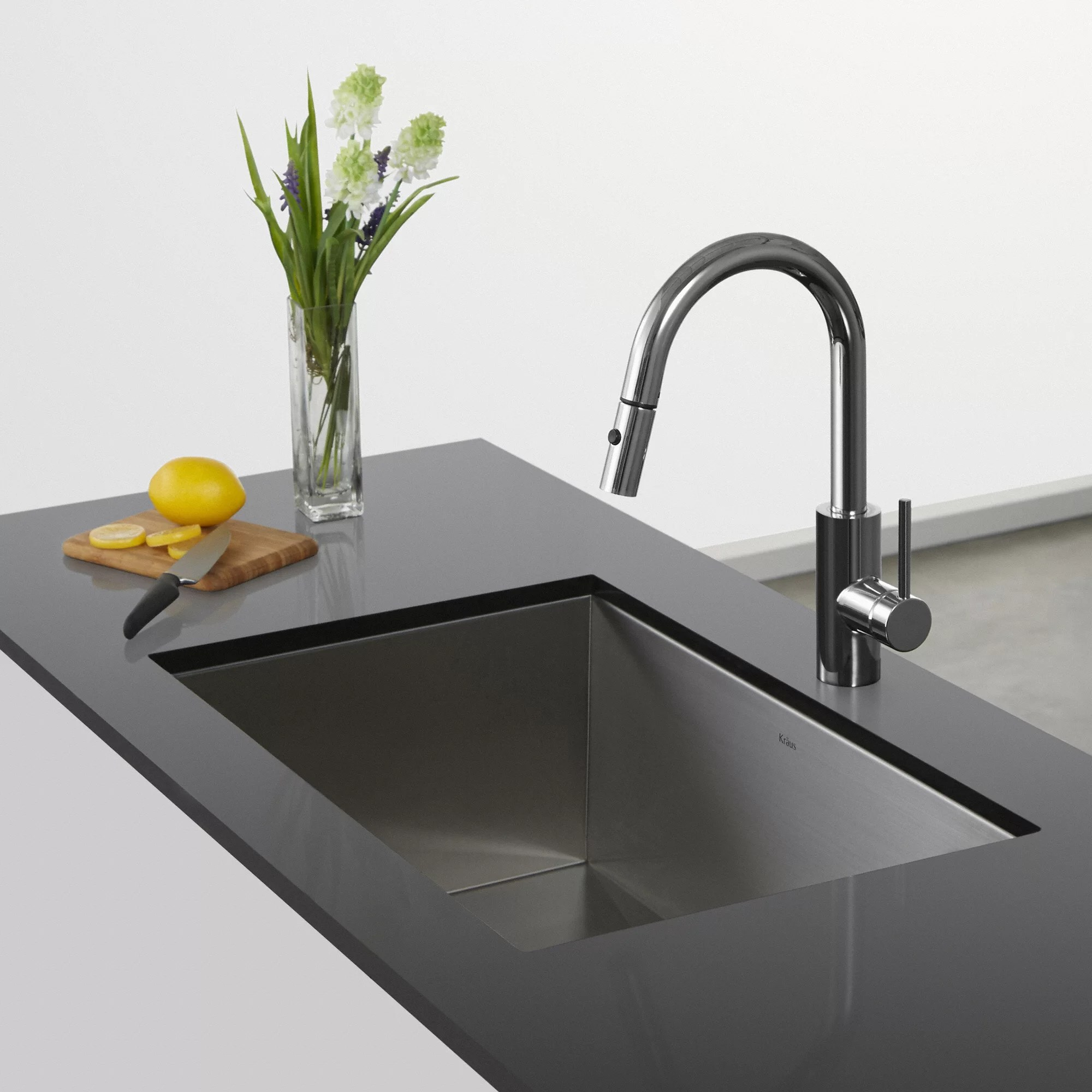 pull down kitchen faucet reviews table ideas kraus oletto single lever