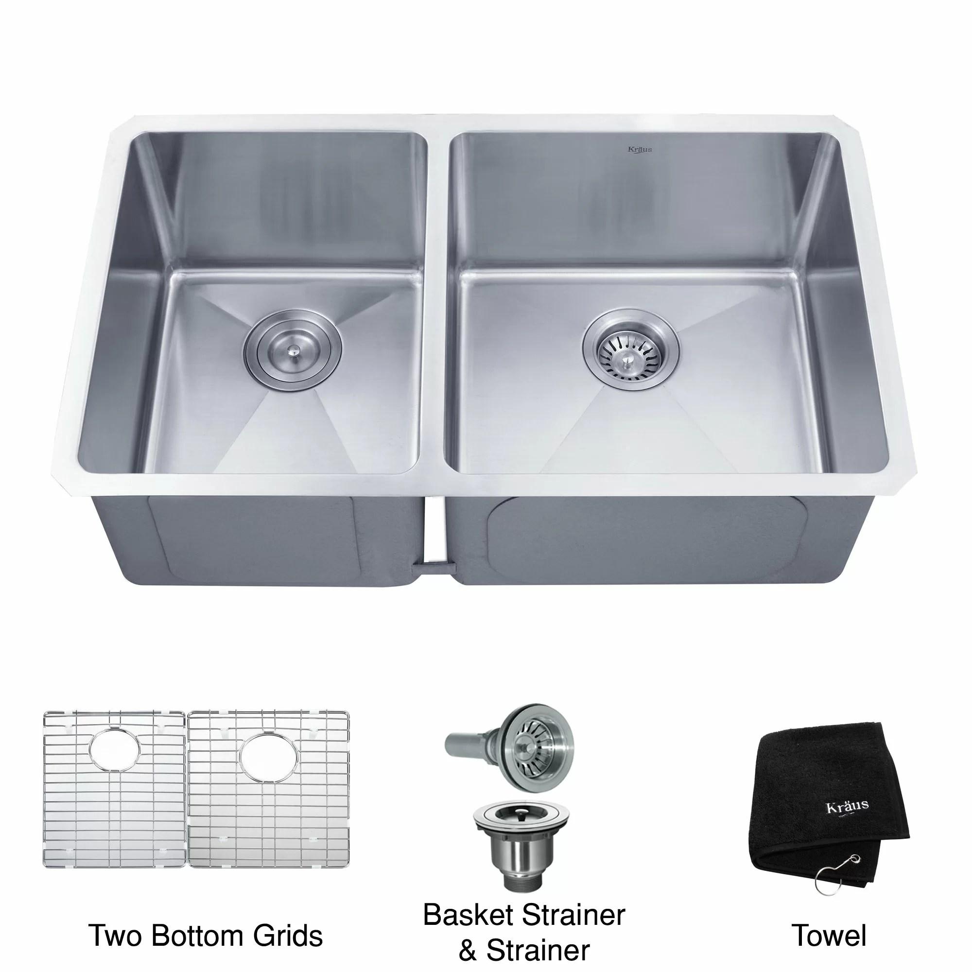 amazon kitchen sinks undermount ninja ultima system kraus 32 75 quot x 19 6 piece 60 40 double bowl
