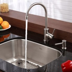 Kitchen Sink Undermount Cabinets Glass Doors Kraus Stainless Steel 23 Quot X 17 6 Single Bowl
