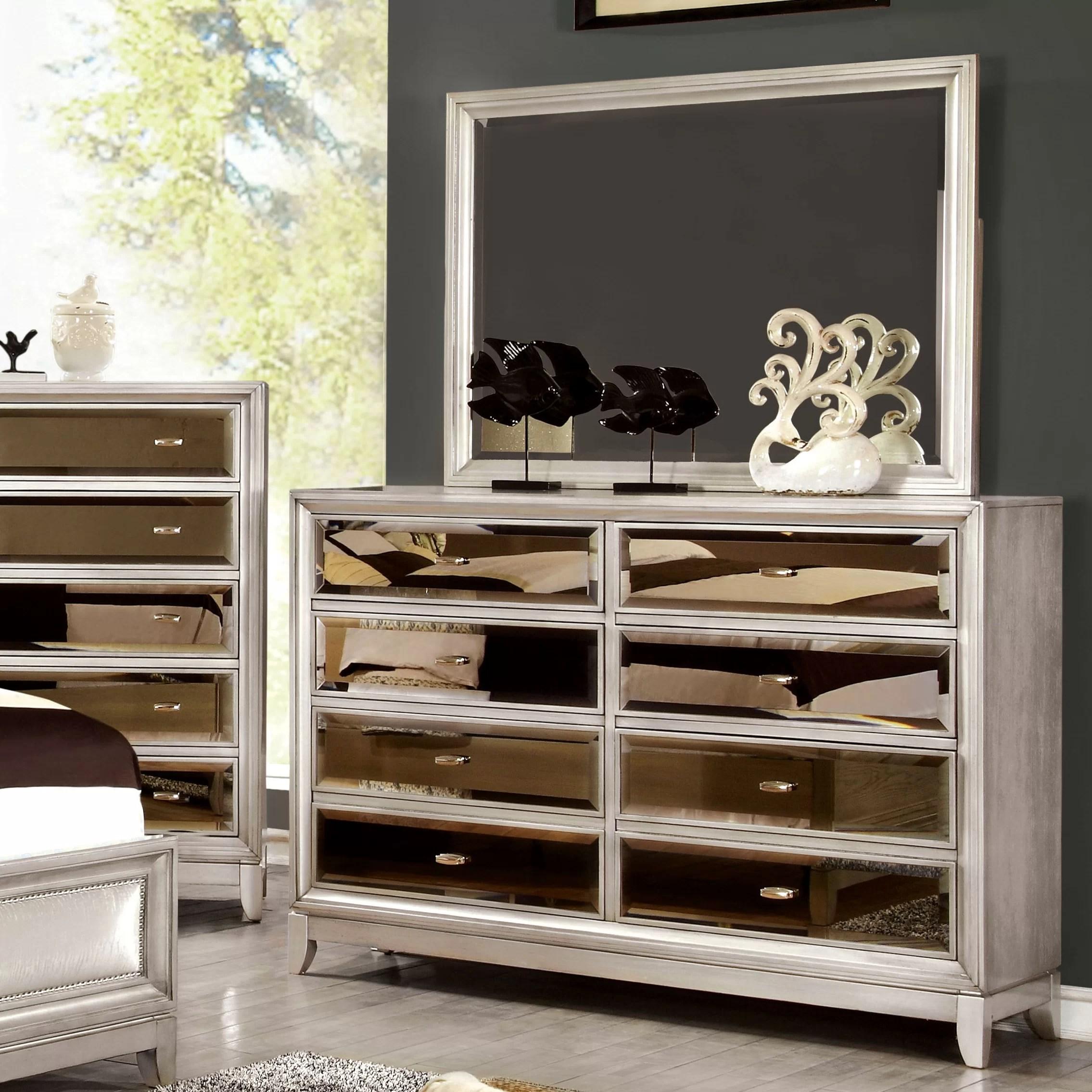House of Hampton Byzantium 8 Drawer Dresser with Mirror  Reviews  Wayfair
