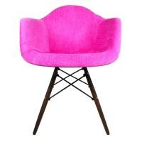 eModern Decor Velvet Fabric Arm Chair with Wood Legs ...