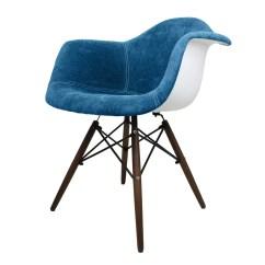 Dark Blue Velvet Accent Chair White Wood Folding With Padded Seat Emodern Decor Style Arm Wayfair