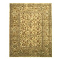 Eastern Rugs Tabriz Hand-Knotted Gold/Ivory Area Rug | Wayfair