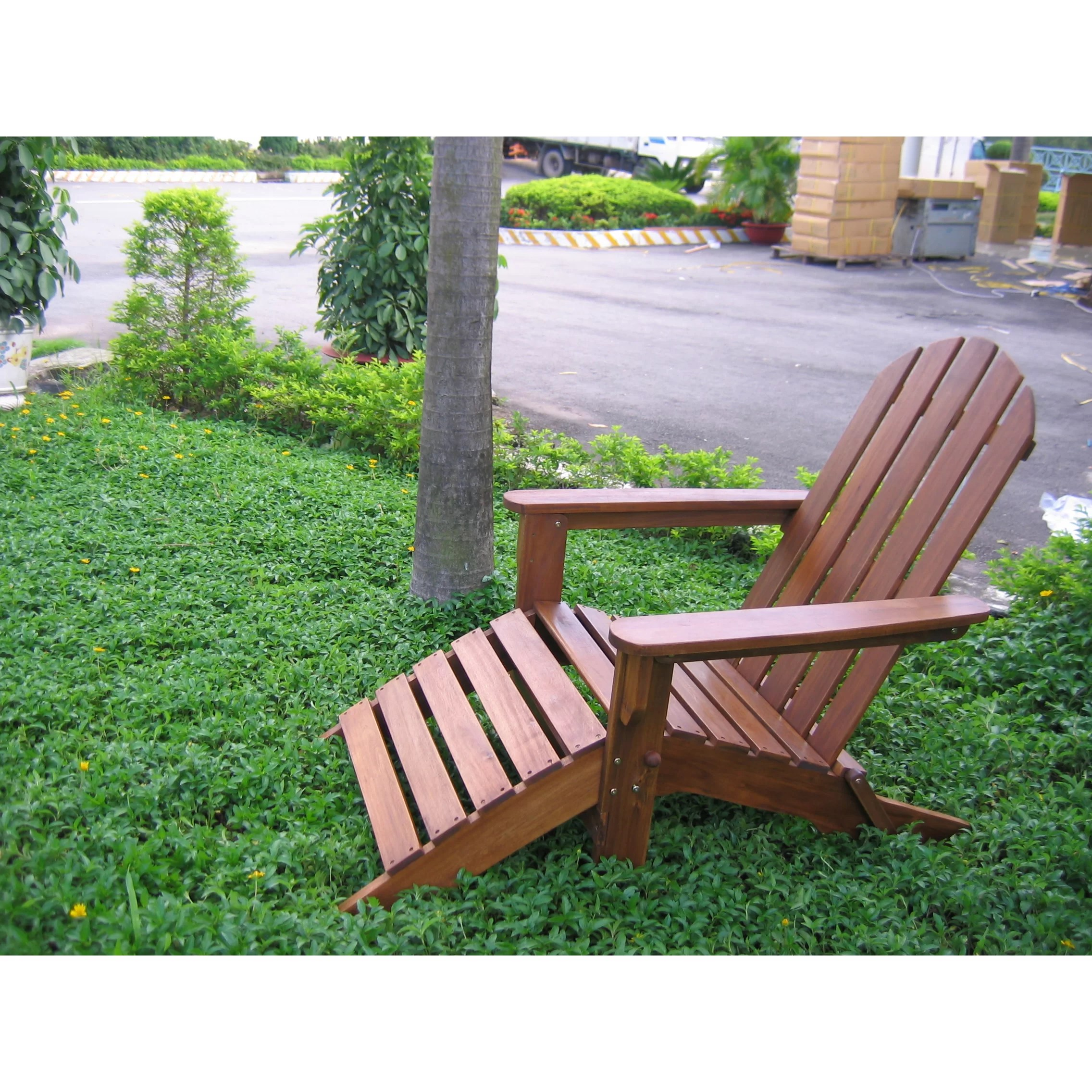 patio chairs with footrests pompon nailhead side chair international caravan adirondack footrest