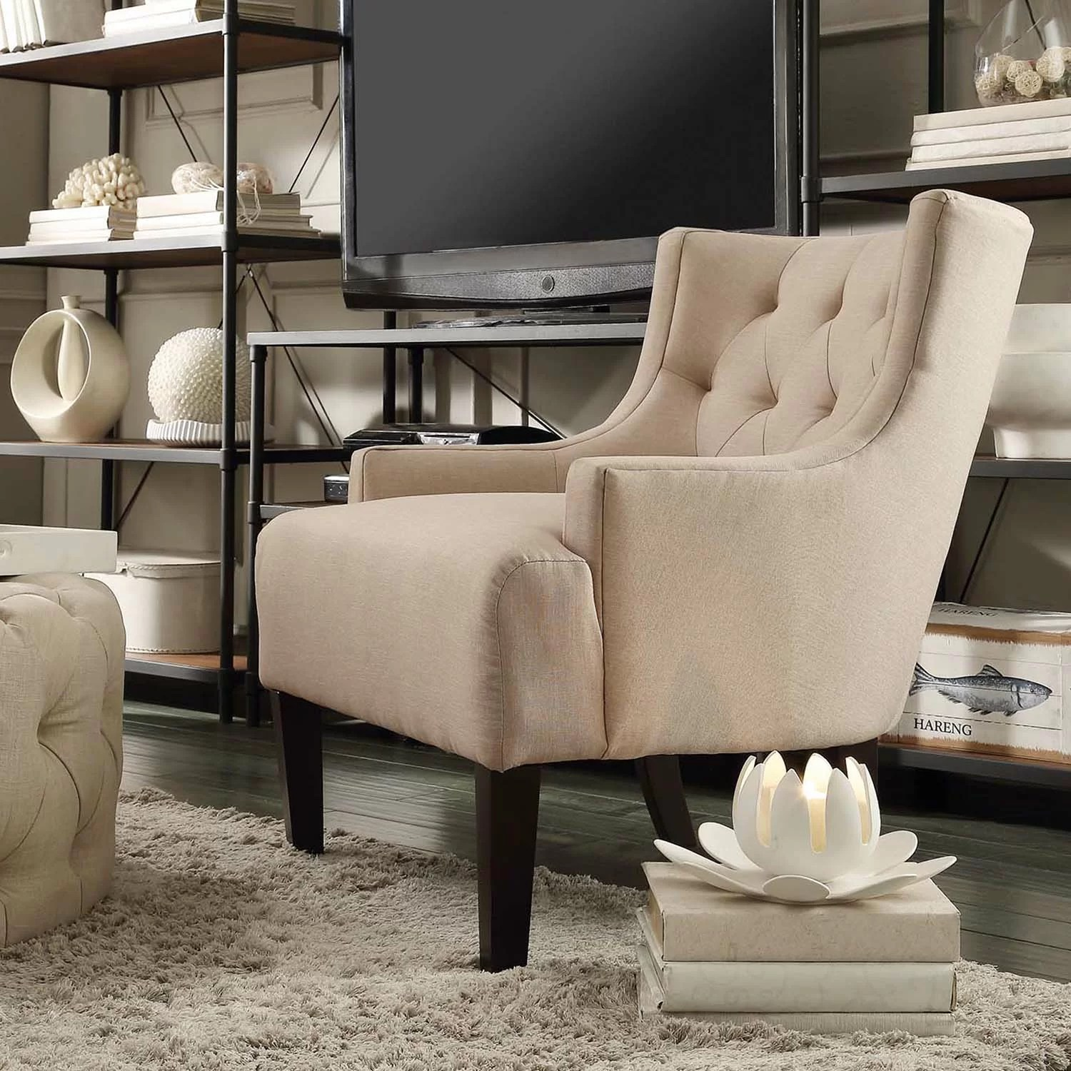 bedroom chair wayfair inglesina portable high kingstown home dawan tufted accent arm and reviews