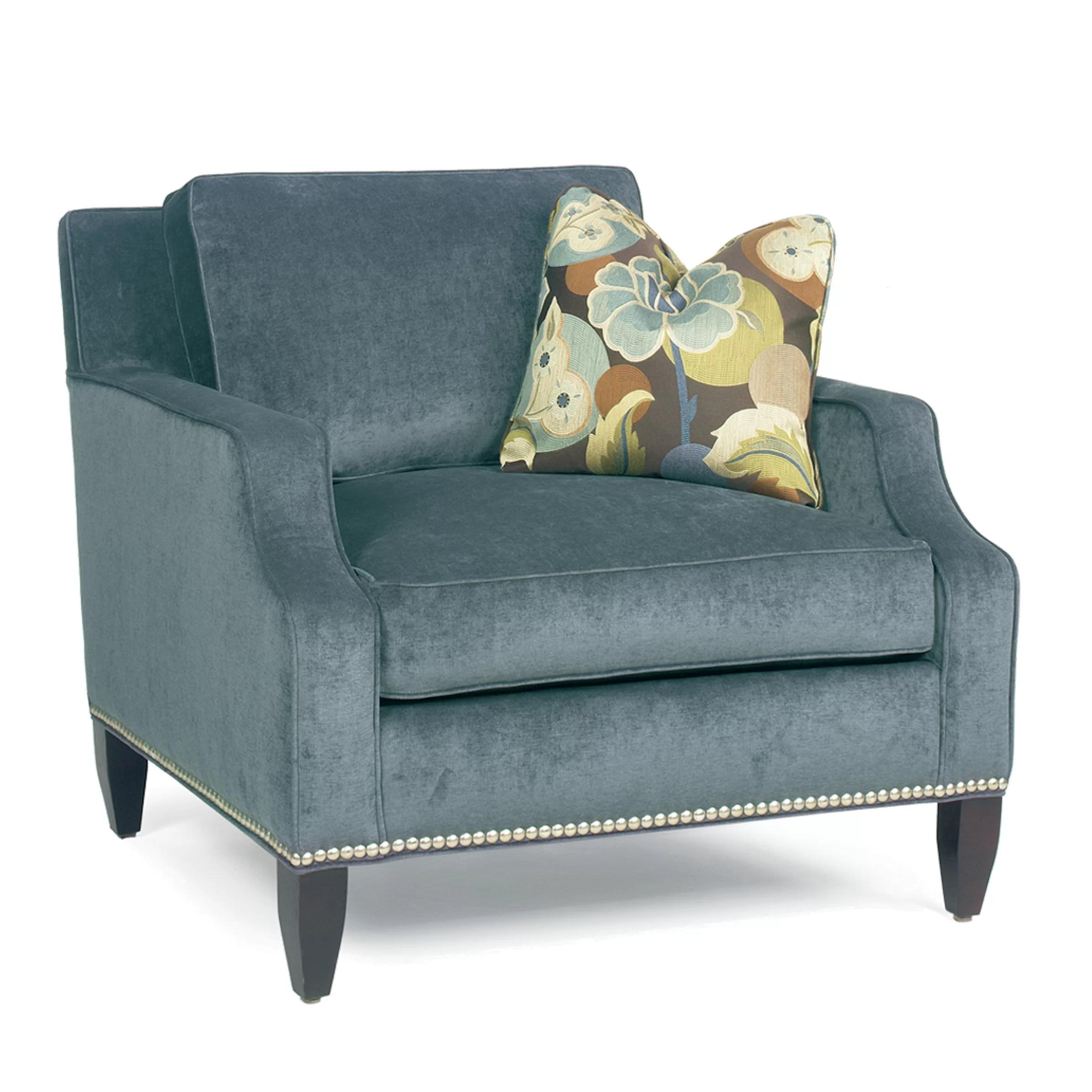 armchair pillow heavy duty plastic adirondack chairs classic comfort modern notch arm loose back club
