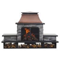 Sunjoy Connan Steel Wood Outdoor Fireplace & Reviews | Wayfair