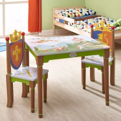 3 Piece Table And Chair Set Bamboo Half Circle Fantasy Fields Knights Dragons Rectangle