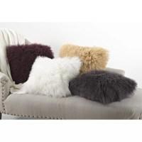 Zipcode Design Becky Mongolian Lamb Fur Wool Throw Pillow ...