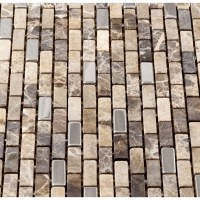 Martini Mosaic Muro Metal and Stone Mosaic Tile in Brown ...